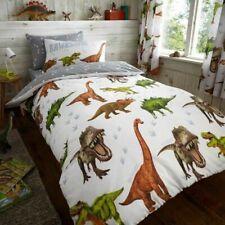 DINOSAUR PARK JURASSIC KIDS BOYS SINGLE BED DUVET QUILT COVER BEDDING SET GREY