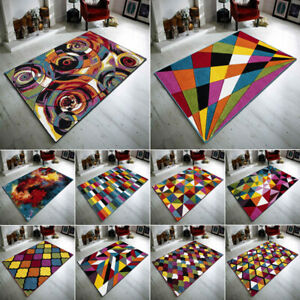 Modern Retro Hand Carved Multi Colored Mats Small Large Area Rug Living Room Mat