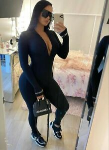 BLACK Jumpsuit bodysuit  Lucky Label  yoga gym long sleeve Lycra