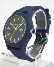 Designer Lacoste 12.12 2010792 Unisex Yellow Hands Blue Silicone Strap Watch NEW