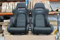 2 x Crank Motorsport GT3 seat in Ultra hard wearing PVC Vinyl. Blue Stitching