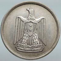 1959 1378AH EGYPT Anniversary UAR Antique Genuine Silver 10 Piastres Coin i88019
