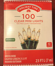 Holiday Time 100ct Clear White Incandescent Christmas-Wedding Lights Green Wire