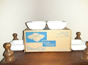 PAMPERED CHEF Simple Additions Petite Squares #1990 - Set Of 4 - White - NIB