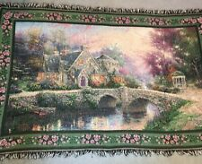 "Thomas Kinkade Painter Of Light Tapestry Blanket Throw Approx 71"" x 45"""