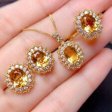 Handmade Set 3pcs Honey Brazil Citrine Gems Yellow Gold Pendant Earrings Rings