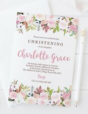 10 PERSONALISED GIRLS CHRISTENING OR FIRST HOLY COMMUNION INVITATIONS - PRETTY