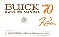 1970 Buick Riviera Owners Manual User Guide Reference Operator Book Fuses Fluids