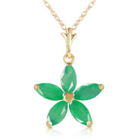 Genuine Emerald Gemstones Flower Pendant Necklace 14K Yellow, White or Rose Gold