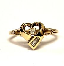 10k yellow gold .07ct I1 H womens diamond heart cluster ring 2.4g vintage