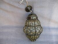 Vintage Large Glass+Metalwork Porch/Hallway Ceiling Light Brass Gallery+Hook 60s