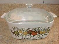 Corning Ware SPICE OF LIFE  Casserole Bowl/Dish w Glass Lid A-1 1/2-B  1.5 qt.