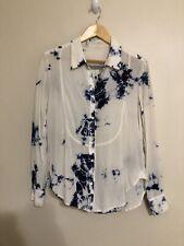 Raquel Allegra Ivory and Blue Tye Dye 100% Silk Button front long sleeve Top S