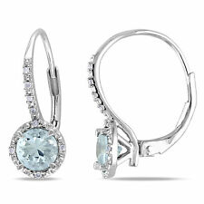 Amour Sterling Silver Gemstone and Diamond Earrings