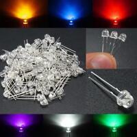100PCS 5mm Ultra Bright Straw Hat Light Emitting Diodes Lamp LEDs Bulb 6 Colors