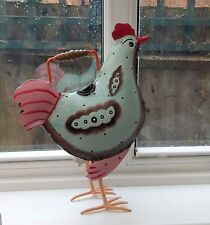 Hand Painted Iron Rooster Cockerel Watering Can Ornament Garden Home Gift New