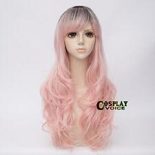 Curly Black Mix Light Pink  Women Long  Heat Resistant Lolita 65cm  Cosplay Wigs