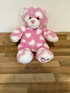 Build A Bear Pink & White Hearts Hugs For You Bear Plush Soft Toy
