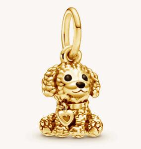 PANDORA Poodle Puppy Dog Charm Pendant 14K Gold Vermeil Plated 798871C01