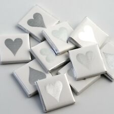 100 Silver Heart Chocolate Neapolitans Wedding Favours Confectionery Sweets (NS)