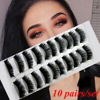 US 10Pairs/Set Magnetic Eyelashes Reusable False Long Thick Eye Lashes Extension
