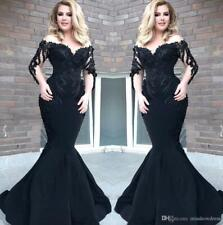 Black Sexy Mermaid Prom Pageant Gown Formal Celebrity Carpet Party Evening Dress