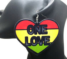 ONE LOVE Rasta Heart Wooden Earrings Red Yellow Green Jamaica Africa 6cm x 7.5cm