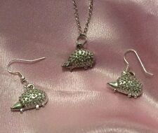 Hedgehog Necklace Set Earrings -Silver Pendant Charm Solid Silver jewellery Set