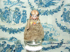 ANTIQUE GERMANY GIRL DOUBLE JOINTED  BISQUE LACE DRESS MINIATURE 4'' DOLL