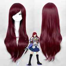 Fairy Tail Erza Cosplay Wig Synthetic Long Straight Dark Red hair wigs  G035