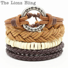 Urban Bohemian style DIESEL Pendant Stacked Leather, Wax Cord & Wood Bracelets