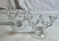 Pair of Cambridge glass keyhole double candlesticks candleholders