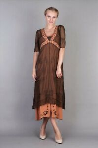 "Natalya Downton Abbey Dress ""Terracotta"" Orange/Brown S Victorian NWT #40007"
