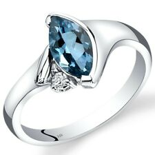 14k White Gold London Blue Topaz and Diamond Bezel Ring 1 Carat