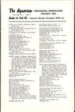 """[54863] 1949 """"THE AQUARIUM"""" INDEX TO VOLUME 18 (JANUARY thru DECEMBER 1949)"""