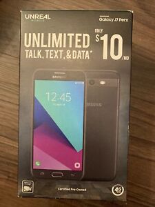 Samsung Unreal Mobile Galaxy J7 Perx Unlimited Prepaid Black Pre-owned