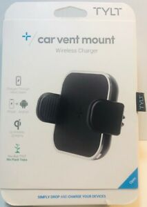 TYLT Car Vent Mount Qi Wireless Charger 5W iPhone Samsung Adjustable Black 5V