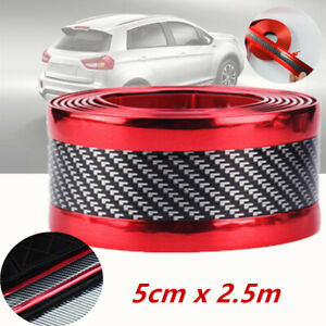 2.5m*5cm Red Carbon Fiber Car Door Sill Scuff Pedal Protector Strips  Freely Cut