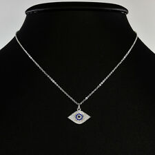 STERLING SILVER NECKLACE WITH CRYSTAL BOHO EVIL EYE PROTECTION KARMA PENDANT.
