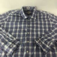 Peter Millar Mens Button Up Blue White Plaid Long Sleeve Shirt Cotton XL