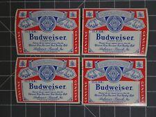 """Lot of 10 Vintage Budweiser Beer Labels 4.25x 3.125"""" Nos"""