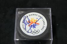 pat quinn signed salt lake city olympic hockey puck