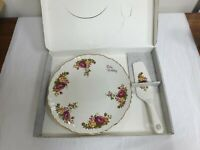 VINTAGE JAMES KENT OLD FOLEY RUBY WEDDING TART (CAKE PLATE) & SERVER - BOXED