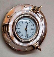 "9"" Brass Porthole Clock ~ Ship Porthole Clock~ Nautical Navigation Marine Clock"