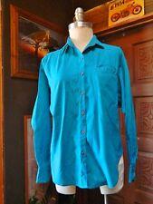 Vintage AMERICAN GIRLS Womens Aqua Teal Blue Long Sleeves Button Down Shirt M