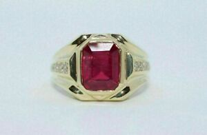2.50 Ct Emerald Cut Ruby Solitaire Men's Engagement Ring 14k Yellow Gold Over