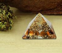 Orgone Pyramid Tiger Eye Crystal Energy Generator EMF Protection Reiki Gemstone