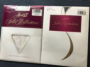 New Hanes Silk Reflections Silky Sheer Pantyhose #715 Sz AB Jet Black or White