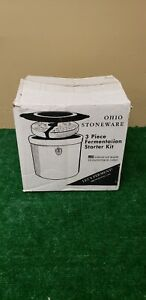 3 Gallon Ohio Stoneware Crock Complete Kit Fermenting Lid Weights (BFEB-09-066)