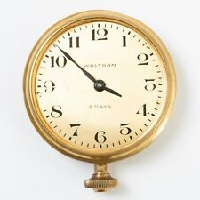 "Antique Waltham 8-Days Pocket Watch Style Clock Brass Case 2.75"" Diameter Works"